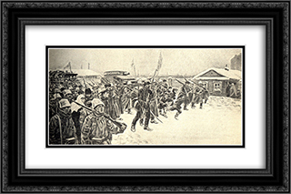 At the workers' outskirts in the days of overthrowing the autocracy 24x16 Black or Gold Ornate Framed and Double Matted Art Print by Ivan Vladimirov