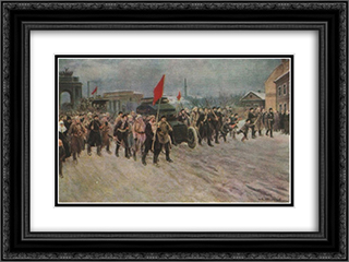 At the workers' outskirts of the days of the overthrow of the autocracy. February 1917 24x18 Black or Gold Ornate Framed and Double Matted Art Print by Ivan Vladimirov