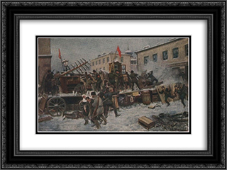 Barricade fighting in Red Presnya 24x18 Black or Gold Ornate Framed and Double Matted Art Print by Ivan Vladimirov