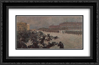 Bloody Sunday. Shooting workers near the Winter Palace January 9, 1905. 24x16 Black or Gold Ornate Framed and Double Matted Art Print by Ivan Vladimirov