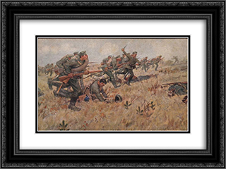 Counterattack 24x18 Black or Gold Ornate Framed and Double Matted Art Print by Ivan Vladimirov
