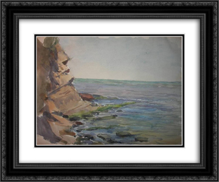 Crimea. The cliffs. 24x20 Black or Gold Ornate Framed and Double Matted Art Print by Ivan Vladimirov