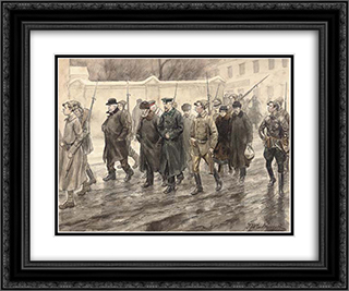 Escort of prisoners 24x20 Black or Gold Ornate Framed and Double Matted Art Print by Ivan Vladimirov