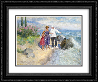Family on holiday 24x20 Black or Gold Ornate Framed and Double Matted Art Print by Ivan Vladimirov