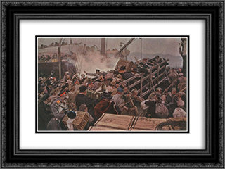 Flight of the bourgeoisie from Novorossiysk in 1920 24x18 Black or Gold Ornate Framed and Double Matted Art Print by Ivan Vladimirov
