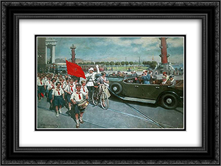 Foreigners in Leningrad 24x18 Black or Gold Ornate Framed and Double Matted Art Print by Ivan Vladimirov