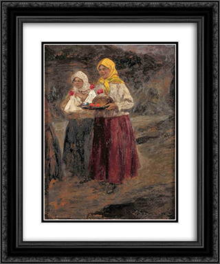 From morning service 20x24 Black or Gold Ornate Framed and Double Matted Art Print by Ivan Vladimirov