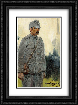 Hungarian soldier 18x24 Black or Gold Ornate Framed and Double Matted Art Print by Ivan Vladimirov