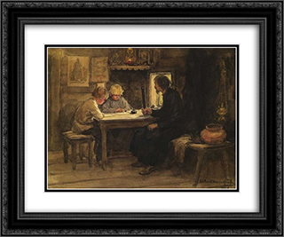 In a lesson of credence with the sexton 24x20 Black or Gold Ornate Framed and Double Matted Art Print by Ivan Vladimirov
