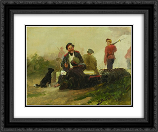 In the military camp. Etude. 24x20 Black or Gold Ornate Framed and Double Matted Art Print by Ivan Vladimirov
