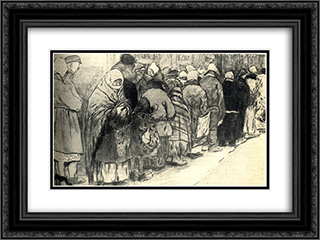 In the queue for bread. First World War. 24x18 Black or Gold Ornate Framed and Double Matted Art Print by Ivan Vladimirov