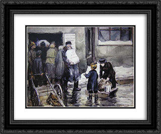 Issuance of bread 24x20 Black or Gold Ornate Framed and Double Matted Art Print by Ivan Vladimirov