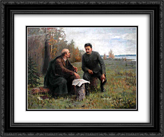 Lenin and Stalin in the summer of 1917 24x20 Black or Gold Ornate Framed and Double Matted Art Print by Ivan Vladimirov