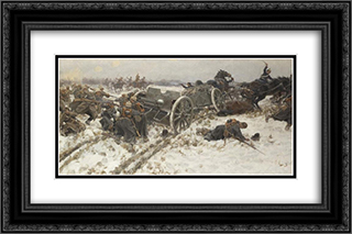 Military clash 24x16 Black or Gold Ornate Framed and Double Matted Art Print by Ivan Vladimirov