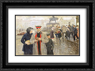 On the streets of Petrograd 24x18 Black or Gold Ornate Framed and Double Matted Art Print by Ivan Vladimirov