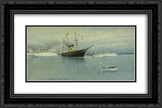 Parade of the Navy. Imperial yacht Standart. 24x16 Black or Gold Ornate Framed and Double Matted Art Print by Ivan Vladimirov