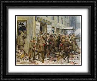 Pogrom of wine shop 24x20 Black or Gold Ornate Framed and Double Matted Art Print by Ivan Vladimirov