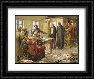 Questioning in the committee of poor 24x20 Black or Gold Ornate Framed and Double Matted Art Print by Ivan Vladimirov