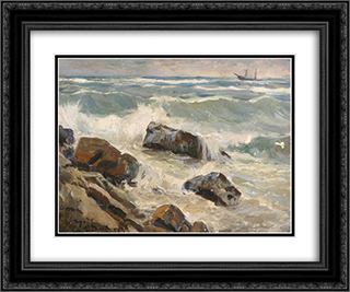 Rocks of the Gulf of Finland 24x20 Black or Gold Ornate Framed and Double Matted Art Print by Ivan Vladimirov