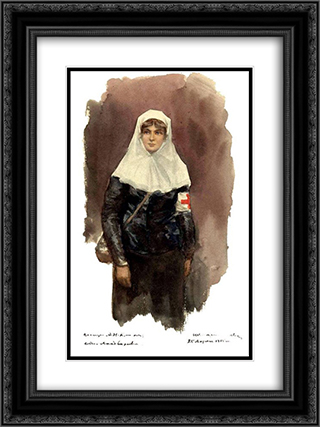 Sister of mercy 18x24 Black or Gold Ornate Framed and Double Matted Art Print by Ivan Vladimirov