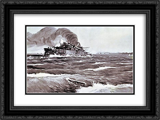 The Battle of Tsushima. Last minutes of battleship Prince Suvorov. 24x18 Black or Gold Ornate Framed and Double Matted Art Print by Ivan Vladimirov