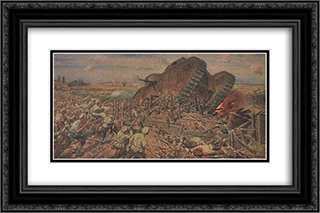 The Capturing of a Tank near Kakhovka 24x16 Black or Gold Ornate Framed and Double Matted Art Print by Ivan Vladimirov