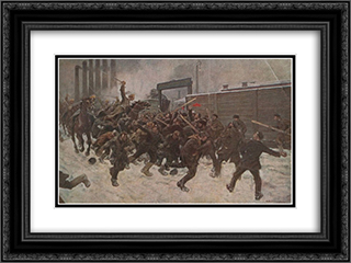 The defeat of the strikers 24x18 Black or Gold Ornate Framed and Double Matted Art Print by Ivan Vladimirov