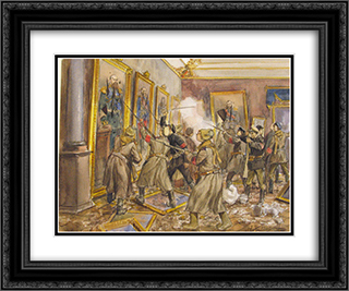 The pogrom of the Winter Palace 24x20 Black or Gold Ornate Framed and Double Matted Art Print by Ivan Vladimirov