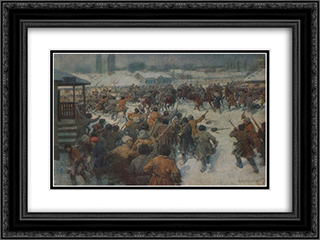 The revolt of the peasants in the village Sorochintsy 24x18 Black or Gold Ornate Framed and Double Matted Art Print by Ivan Vladimirov