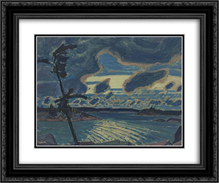After Sunset, Georgian Bay 24x20 Black or Gold Ornate Framed and Double Matted Art Print by J. E. H. MacDonald