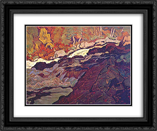 Batchawana Rapid 24x20 Black or Gold Ornate Framed and Double Matted Art Print by J. E. H. MacDonald