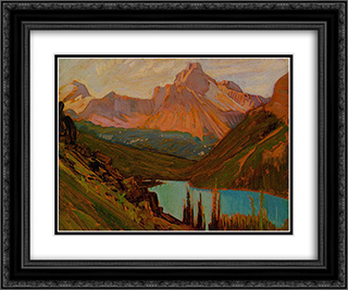 Cathedral Peak, Lake O'Hara 24x20 Black or Gold Ornate Framed and Double Matted Art Print by J. E. H. MacDonald