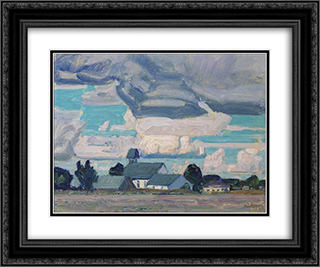 Cloudy Sky, Thornhill Church 24x20 Black or Gold Ornate Framed and Double Matted Art Print by J. E. H. MacDonald