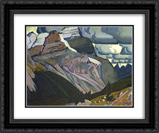 Dark Autumn, Rocky Mountains 24x20 Black or Gold Ornate Framed and Double Matted Art Print by J. E. H. MacDonald