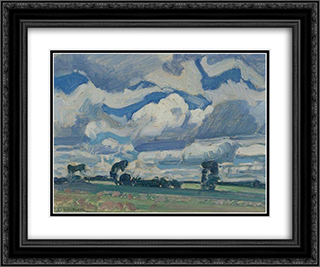 Fields and Sky 24x20 Black or Gold Ornate Framed and Double Matted Art Print by J. E. H. MacDonald