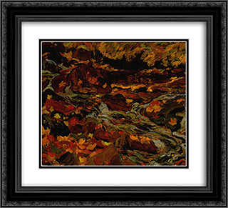 Leaves in the Brook 22x20 Black or Gold Ornate Framed and Double Matted Art Print by J. E. H. MacDonald
