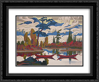 Mist Fantasy 24x20 Black or Gold Ornate Framed and Double Matted Art Print by J. E. H. MacDonald