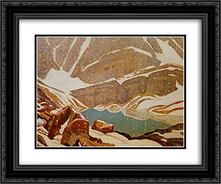 Mountain Snowfall, Lake Oesa 24x20 Black or Gold Ornate Framed and Double Matted Art Print by J. E. H. MacDonald