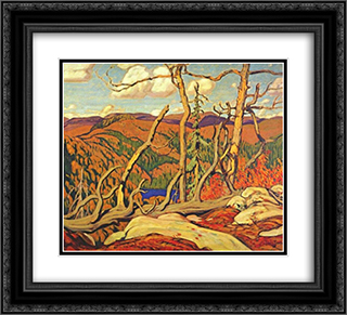 Northland Hilltop 22x20 Black or Gold Ornate Framed and Double Matted Art Print by J. E. H. MacDonald