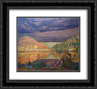 October Shower Gleam 22x20 Black or Gold Ornate Framed and Double Matted Art Print by J. E. H. MacDonald
