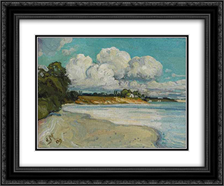 On the Lake Shore Near Bronte 24x20 Black or Gold Ornate Framed and Double Matted Art Print by J. E. H. MacDonald