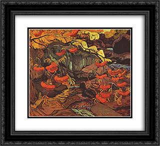Rowanberries (Mountain Ash), Algoma 22x20 Black or Gold Ornate Framed and Double Matted Art Print by J. E. H. MacDonald