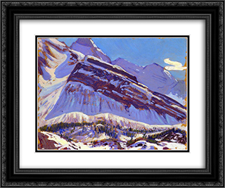 September Snow on Mount Schaffer 24x20 Black or Gold Ornate Framed and Double Matted Art Print by J. E. H. MacDonald