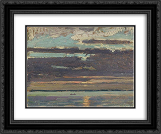 Sunset, Lake Simcoe 24x20 Black or Gold Ornate Framed and Double Matted Art Print by J. E. H. MacDonald