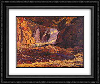 The Little Falls 24x20 Black or Gold Ornate Framed and Double Matted Art Print by J. E. H. MacDonald