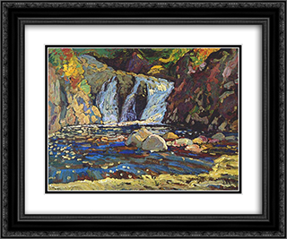 The Little Falls Sketch 24x20 Black or Gold Ornate Framed and Double Matted Art Print by J. E. H. MacDonald