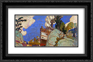 The Supply Boat 24x16 Black or Gold Ornate Framed and Double Matted Art Print by J. E. H. MacDonald