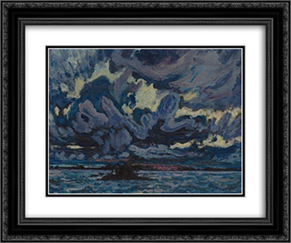 Wind Clouds 24x20 Black or Gold Ornate Framed and Double Matted Art Print by J. E. H. MacDonald
