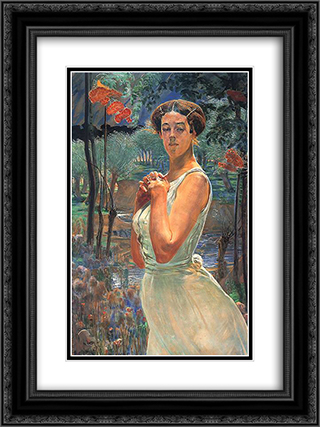 A woman in a grove 18x24 Black or Gold Ornate Framed and Double Matted Art Print by Jacek Malczewski