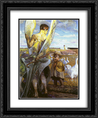Angel, I will follow you 20x24 Black or Gold Ornate Framed and Double Matted Art Print by Jacek Malczewski
